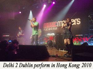 Delhi2Dublin perform in Hong Kong with caption